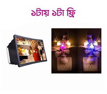 সুপার LED মাশরুম নাইট ল্যাম্প ১পিস (ইউনিভার্সাল 3D মোবাইল ফোন স্ক্রিন ম্যাগনিফায়ার ফ্রি)