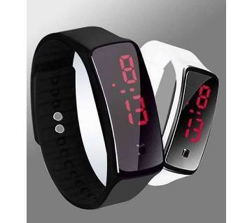 Black Silicon LED Sports Watch