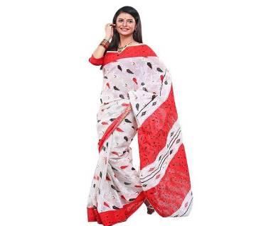 Screen Printed Red-White Cotton Saree