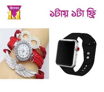 Apple Design Gents Digital Smart Wristwatch (Push Touch) - Copy+Ladies Bracelet Watch(free)