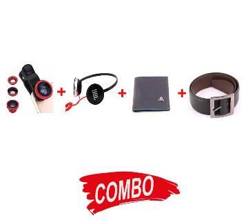 PU Leather Menz Wallet+3 in 1 Universal Clip Camera Mobile Phone Lens+ JBL headphone (copy)+Menz Leather Formal Belt Combo Offer