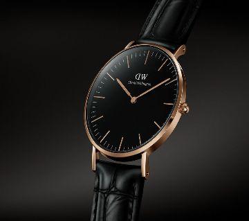 DW black  Watch Artificial  Leather  জেন্টস এনালগ রিস্ট ওয়াচ