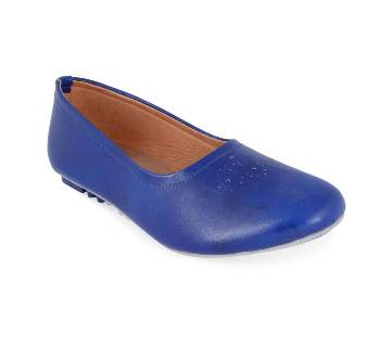 Leather Pump Shoe for Women - Blue