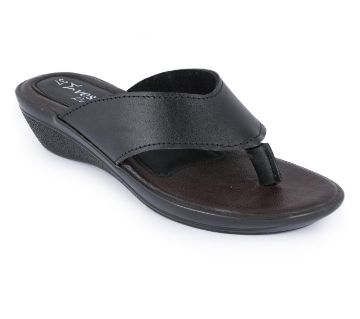 Leather Casual Ladies Flat Sandal - Black