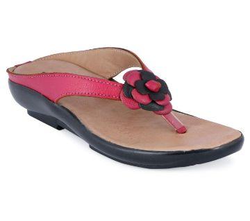 Leather Flat স্যান্ডেল for Women- Pink