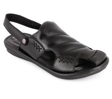Leather Casual Sandal For Men - Black
