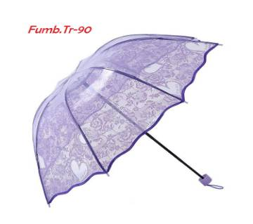 Transparent auto folding umbrella