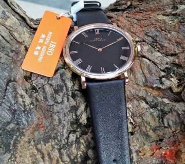 IBSO Slim Black Leather Strap Watch