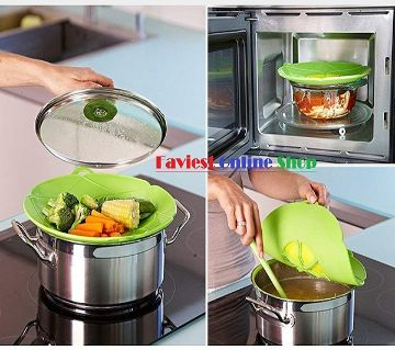 Boil Over Safeguard,Silicone Spill Stopper Pot Pan Lid Splatter Guard Screens Steam Rack Pot Holder