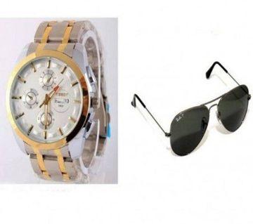 Tissot Watch Combo & Ray Ban Sunglasses.