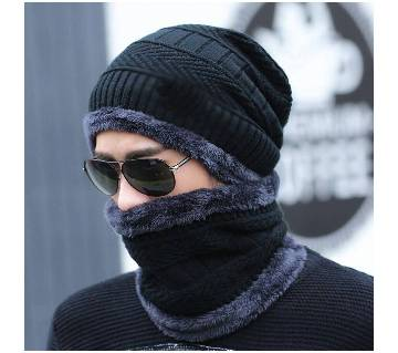 Woolen Winter Cap With Neck Band For Men And Women - Premium Quality (Color Random)