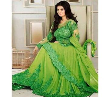 Semesticated Georgette Embroidery Long Party Suit