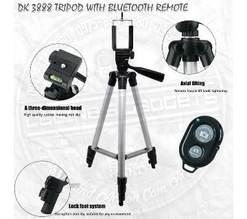 DK 3888 Foldable Portable Tripod Stand for Camera and Mobile WITH BLUETOOTH CONTROL-