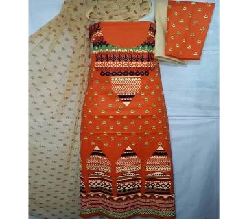 Unstitched Stylish Regular Design Pure Cotton Print Three-Piece