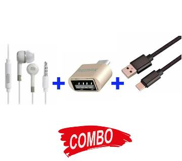 Mi In-Ear Earphone+Data and USB 2.0 Charging Cable For Smart Phones+Remax Micro USB OTG converter Combo