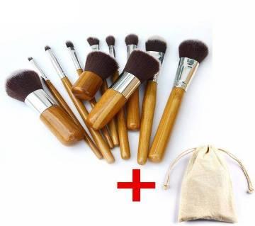 Professional Bamboo Makeup Brush Set - 11 Pcs