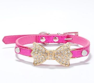 Rhinestone PU Leather Pet Collar
