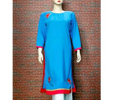 Full Sleeve Embroidery Printed Single Kameez or Kurti For Women