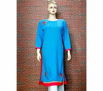 Women Full Sleeve Blue Embroidery Printed Single Kameez/Kurti