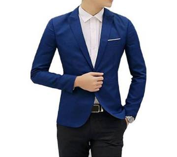 Navy Blue Synthetic Casual Blazer For Men