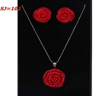 Rose pendent with earring