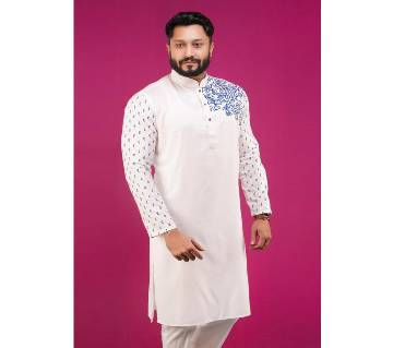 Mens Cotton Semi Long Punjabi
