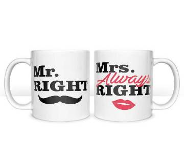 Mr. Right & Mrs. Always Right Coffee কাপল মগ