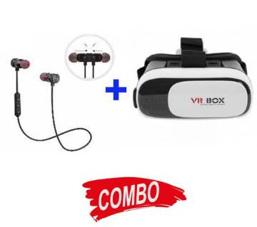 VR Box + BMI Magnet Wireless Stereo Bluetooth Earphone Combo Offer