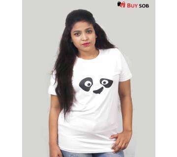 Panda Half Sleeve Cotton T-Shirt for Women
