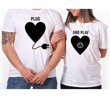 Half Sleeve Cotton T-Shirt For Couple
