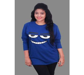 Ladies Full Sleeve Solid Color Cotton T-Shirt