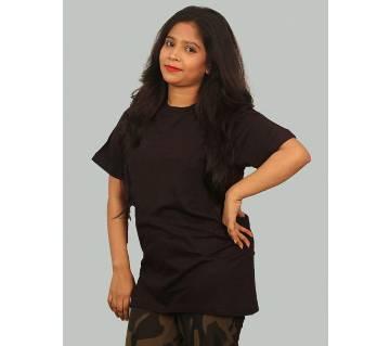 Ladies Half Sleeve Solid Color Cotton T-Shirt
