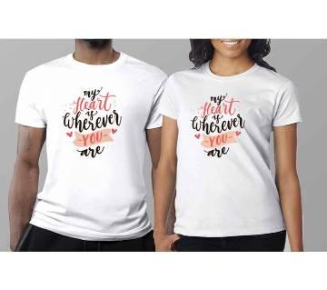 Half Sleeve Cotton T-Shirt For Couple C-8