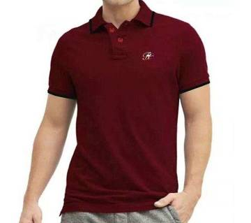 Maroon color half sleeve casual polo t-shirt for man