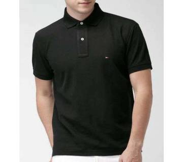 Black color half sleeve casual polo t-shirt for man