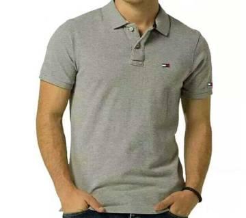 Ash color half sleeve casual polo t-shirt for man