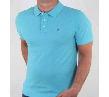 Sky blue half sleeve casual polo t-shirt for man