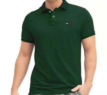green color half sleeve cotton polo t-shirt for man