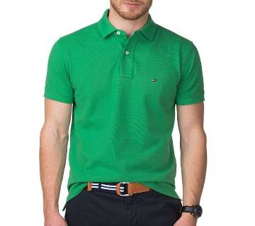 Olive color half sleeve casual polo t-shirt for man