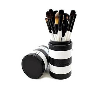 Morphe Brushes 12-Piece BLACK & WHITE TRAVEL Brush Set