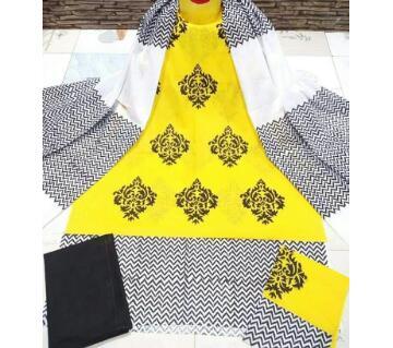 Unstitched Block Printed Cotton Three Piece