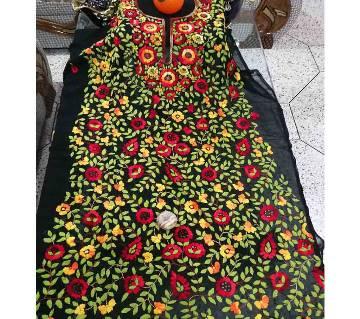 আনস্টিচড ইন্ডিয়ান ফুলকরি হ্যান্ড স্টিচড ওয়ার্ক জর্জেট লং কুর্তি