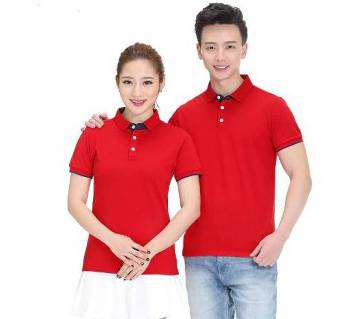 Couple Red Polo  T-Shirt for Men & Women(Valentines Offer)