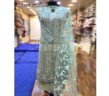 Unstitched Net with Embroidery Work Suit