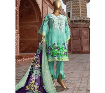 Cambric Printed Embroidered Unstitched Suit
