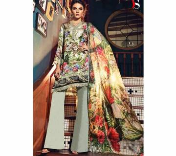 Pure japan satin digital print with embroidery Unstitched Suit