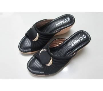 Black PU Leather Heeled Sandal For Women