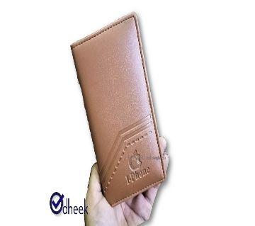 Long Wallet Cum Mobile Cover for Men Women Color Brown