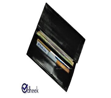 Long Wallet Cum Mobile Cover for Men Women Color Shiny Black