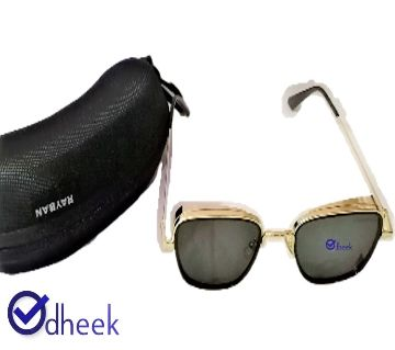 Metal Frame Sunglass for Men Golden With Travel Pouch
